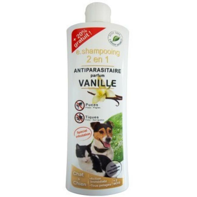Shampoing antiparasitaire Essential 2 en 1 vanille pour chien et chat flacon 250 ml