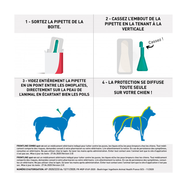 Soin antiparasitaire Frontline Spot On pour chiens Boîte 1 pipette