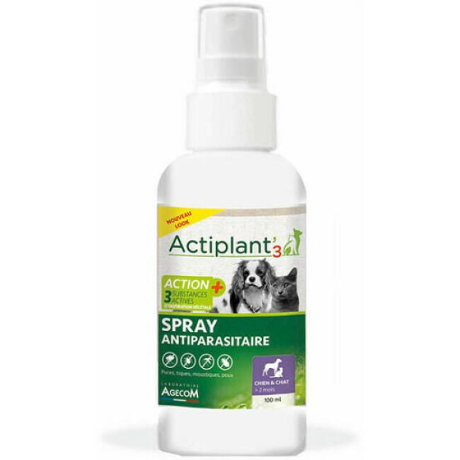Spray anti parasitaires chien et chat Actiplant'3