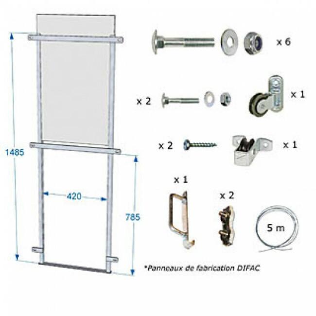 Trappe coulissante pour panneau CPRS - 70 x 40,5 cm