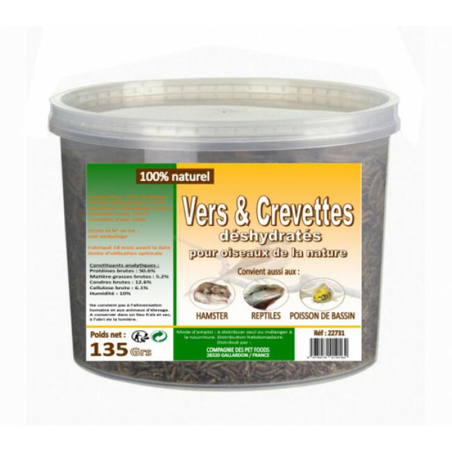 Vers de farine et crevettes séchées pour oiseaux de la nature Seau 135 g