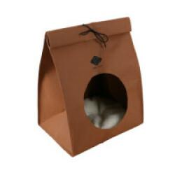 Abri aspect sac papier pour chat - brun