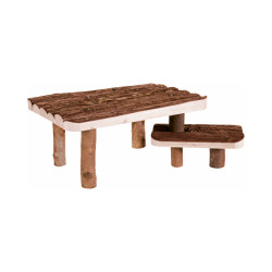 Abri en bois avec plateforme pour rongeurs Natural Living Trixie - Avec escalier 37 × 17 × 28 cm