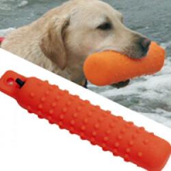 Apportable flottant vinyle pour chien 7,5 cm orange fluo