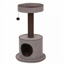 Arbre à chat confort avec plateforme, jouets et abri York gris - hauteur 80,5 cm