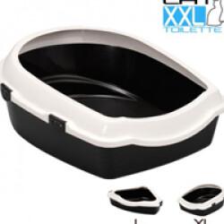Bac toilette à rebord pour litière de chat Jumbo XXL (56 x 70 x H 16/25 cm)