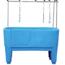 Baignoire de toilettage sur pieds - Bleue