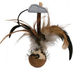 Balle de jeu avec plumes Culbuto Trixie pour chat
