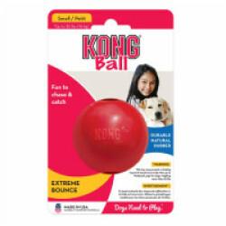 Balle rouge ultra résistante pour chien KONG Ball S diamètre 6 cm