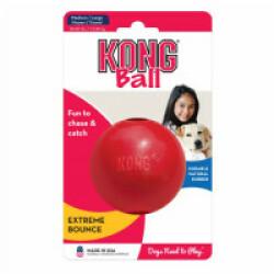 Balle rouge ultra résistante pour chien KONG Ball M/L diamètre 7,5 cm