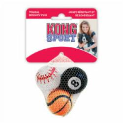 Lot de 3 balles en caoutchouc pour chien KONG Sport Ball diamètre 4,5 cm