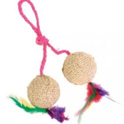 Balles en jute avec corde et plumes Trixie pour chat