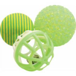 Balles variées texturées Zolux pour chat - Lot de 3 balles
