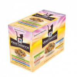 Bouchées en sauce pour chats Hill's Ideal Balance Adult Pack Saveur Mixte 12 Sachets 85 g