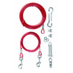 Câble d'attache rouge avec longe Trixie
