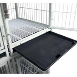 Bac récupérateur pour cage de gardiennage modulable en métal