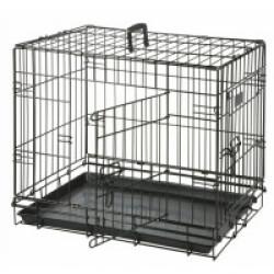 Cage de transport métallique pour chien noir Taille L : L 1,09 m x l 70 cm x H 76 cm