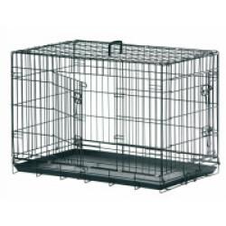 Cage de transport métallique pour chien noir Taille S : L 77 cm x l 54 cm x 47 cm