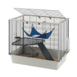 Cage équipée pour furets avec grande ouverture