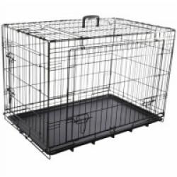 Cage noire métallique avec porte coulissante pour chien Nyo S 45 x 62 x 49,5 cm