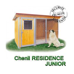 Chenil en bois éleveur résidence junior pour chien & chat + préau soit 2x3m