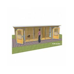 Chenil en bois éleveur résidence junior pour chien & chat + préau soit 2x6 m Duo