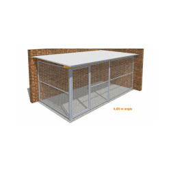 Chenil pour chien métal entièrement grillagé Large angle - 2 x 4 m