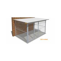 Chenil pour chien métal entièrement grillagé Medium adossé - 2 x 3 m