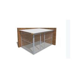 Chenil pour chien métal entièrement grillagé Medium angle - 2 x 3 m