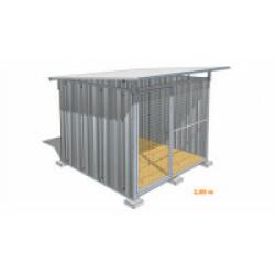 Chenil pour chien en tôle galvanisée avec façade grillagée Mini - 2 x 2 m