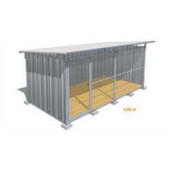 Chenil pour chien en tôle galvanisée avec façade grillagée Maxi - 4 x 2 m
