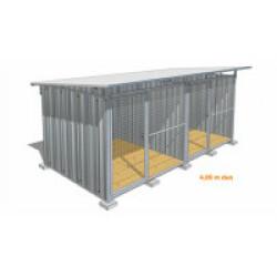 Chenil pour chien en tôle galvanisée avec façade grillagée Maxi DUO - 4 x 2 m