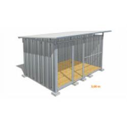 Chenil pour chien en tôle galvanisée avec façade grillagée Medium - 3 x 2 m