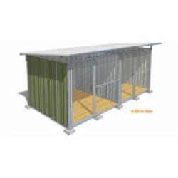Chenil pour chien en tôle laquée verte avec façade grillagée Maxi DUO - 4 x 2 m