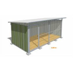 Chenil pour chien en tôle laquée verte avec façade grillagée Maxi - 4 x 2 m