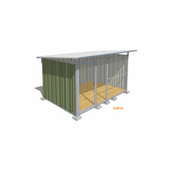 Chenil pour chien en tôle laquée verte avec façade grillagée Medium - 3 x 2 m
