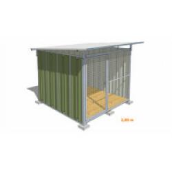 Chenil pour chien en tôle laquée verte avec façade grillagée Mini - 2 x 2 m