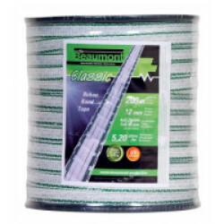 Bobine ruban électrique 200m x 12mm couleur Blanc/Vert pour clôture électrique chien & chat