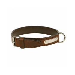 Collier cuir traditionnel luxe chien T1 Marron