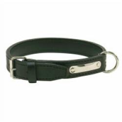 Collier cuir traditionnel luxe chien T1 Noir