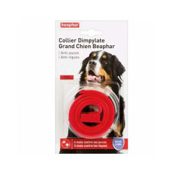 Collier Dimpylate anti-puces et tiques pour grand chien - coloris : Rouge
