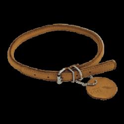 Collier marron en cuir rond pour chien Chapuis Sellerie