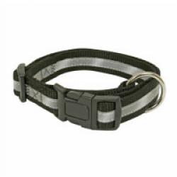 Collier réglable noir nylon réfléchissant pour chien 40/65 cm