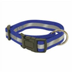 Collier réglable bleu nylon réfléchissant pour chien 40/65 cm