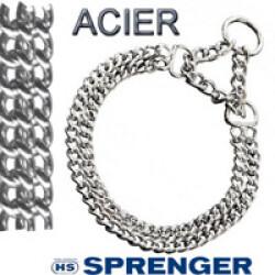 Collier semi étrangleur pour chien chaînette double satinée T45 ouverture 42 cm