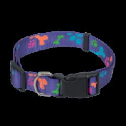 Collier violet réglable pour chien avec motifs pattes Chapuis Sellerie