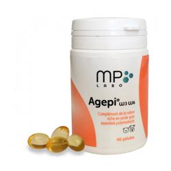 Complément alimentaire Agepi Omega 3 et 6 pour derme et pelage du chien et chat Boîte de 40 capsules