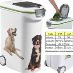 Container croquettes en plastique décor chien Petlife 20 kg