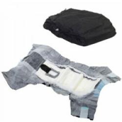 Couche culotte noire Comfort Nappy jetable pour incontinence du chien T1 paquet de 12 couches