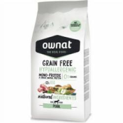 Croquettes Ownat Grain Free Hypoallergenic sans céréales au porc pour chien adulte sensible Sac 14 kg